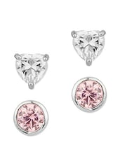 Heart Shaped & Round Crystal Earrings Set - Voylla