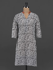 White & Black Printed Cotton Kurti - Free Living