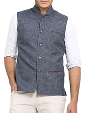 grey jute nehru jacket -  online shopping for Nehru Jacket