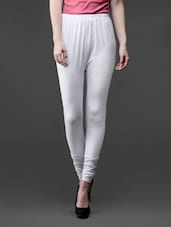 White Elastic Waist Cotton Viscose Leggings - Lalana