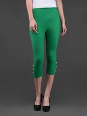 Green Cotton Lycra Capris - Lalana