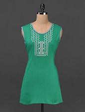 Embroidered Round Neck Sleeveless Cotton Kurti - Aadhunik Libaas