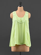 Lime Green Lace & Georgette Top - Feyona