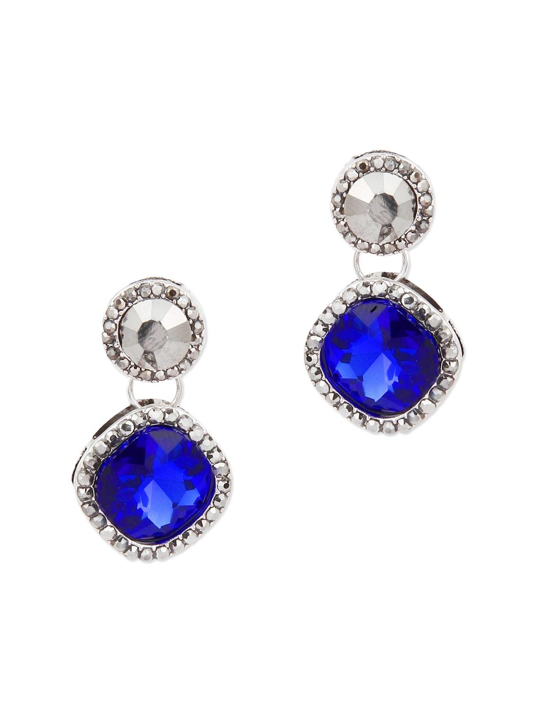 Blue Stone Embellished Drop Earrings  Moedbuille