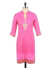 Mandarin Collar Self Striped Kurta - Mytri
