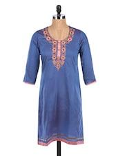 Round Neck Quarter Sleeves Embroidered Blue Kurta - Mytri