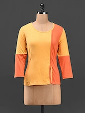 Round Neck Color Block Cotton Top - Butterfly Wears