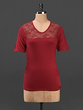 Red Lace Yoke V-Neck Top - Butterfly Wears