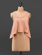 Cotton Round Neck Peach Flared Top - Butterfly Wears