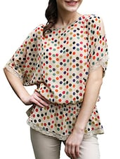 Polka Dot Printed Georgette Top - Meiro