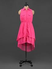 Pink High Low Shirt Dress - CINDRELLA