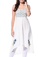White Hand Block Print Cotton Kurta - By