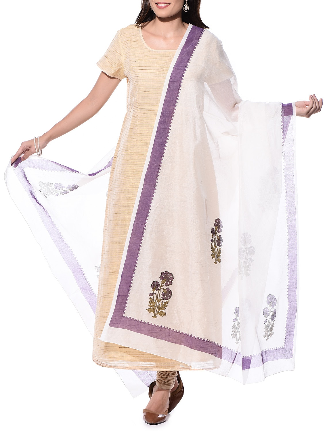 Off-white Hand Block Print Chanderi Dupatta - By