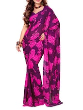 Floral Purple Chiffon Saree - Ambaji