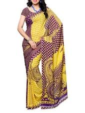 Printed Yellow And Purple Georgette Saree - Ambaji