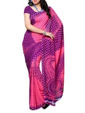 Pink And Purple Georgette Saree - Ambaji