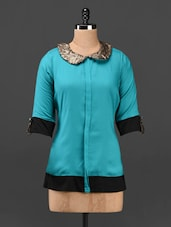 Sequined Peter Pan Collar Top - KRISHTI