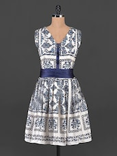 Cream And Navy Blue Printed Dress - MARMALADE