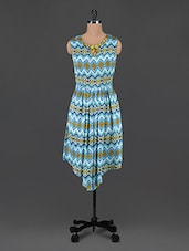Blue Printed Asymmetrical Dress - MARMALADE