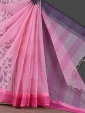 Pink Self Stripe Sheer Handloom Saree - Mmantra