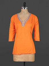 Orange Cotton Top With Embroidered Neckline - Y.C.