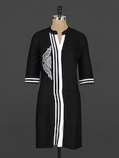 Black Cotton Kurti With White Panels - Y.C.