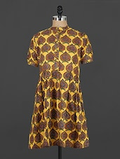 Yellow Printed Cotton Closed-neck Kurti - Y.C.