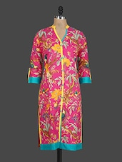Pink Floral Print Button-up Sleeves Kurti - Drashti