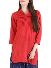 red cotton straight kurti -  online shopping for kurtis