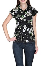 Black Floral Crepe Top - Stilestreet