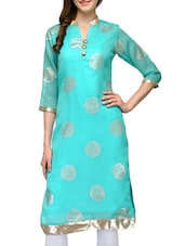 Turquoise Cotton Regular Kurta - By