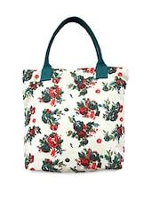 Cream Floral Printed Canvas Handbag - Carry On Bags