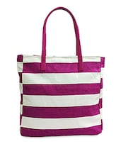 Purple And White Striped Canvas Handbag - Carry On Bags