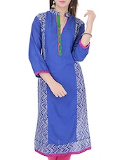 Blue Rayon Regular Kurta - By