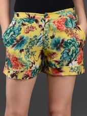 Floral Printed Cotton Shorts - Lavennder