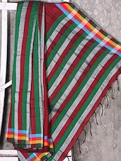 Multi Horizontal Striped Cotton Saree - Shiva Saree