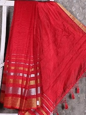 Shiny Striped Border Red Manipuri Net Saree - Shiva Saree