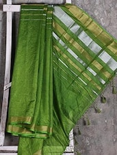 Shiny Striped Green Manipuri Net Saree - Shiva Saree