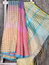 Golden Woven Stripe Multicolor Kora Saree - Shiva Saree