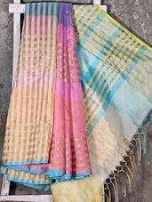 Golden Woven Stripe Multicolor Kora Saree - Shiva Saree