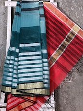Woven Striped Zari Border Kora Saree - Shiva Saree - 1089438