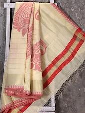 Woven Paisley Zari Border Beige Kora Saree - Shiva Saree