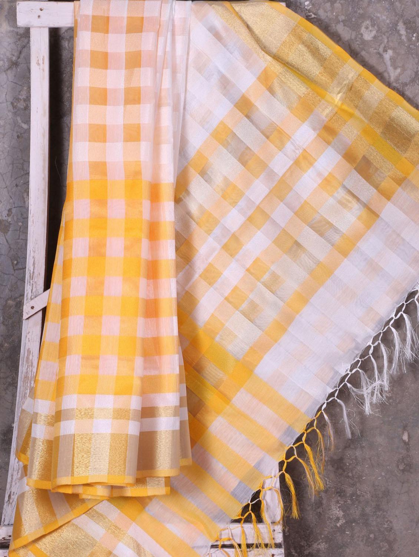 Woven Checked Yellow Saree - Shiva Saree