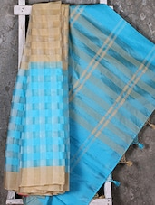 Woven Checked Turquoise Saree - Shiva Saree