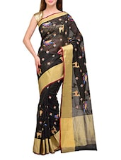 Black Embroidered Cotton Saree - SSPK