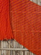 Printed Orange Chiffon Saree - Saree Street