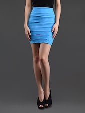 Sky Blue Self Striped Pencil Skirt Cum Tube Top - N-Gal