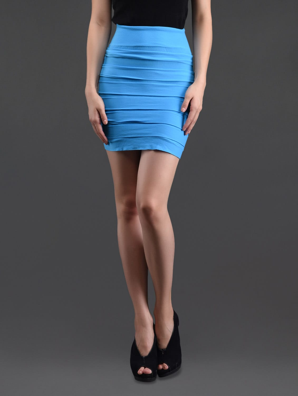 Sky Blue Self Striped Pencil Skirt Cum Tube Top - N-Gal