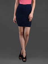 Dark Blue Gathered Pencil Skirt Cum Tube Top - N-Gal