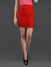 Red Gathered Pencil Skirt Cum Tube Top - N-Gal
